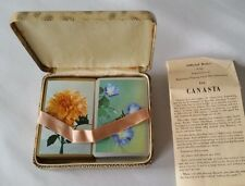 Vintage Double Deck Floral Congress Playing Cards in Faux Snake Skin Case