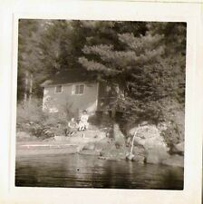Old Vintage Antique Photograph People Sitting By Country Cabin on Lake