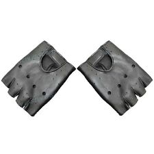 Men Women Cool Punk Soft Leather Fingerless Driving Motorbicycle Biker Gloves