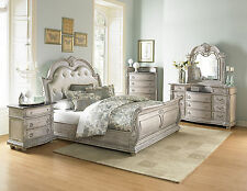 MAJESTIC - 5pcs Old World White King Tufted Bonded Leather Sleigh Bedroom Set