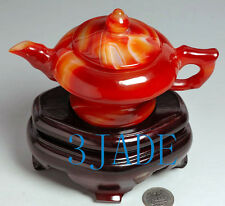 Carnelian / Red Agate Carving / Sculpture: Teapot / Tea Pot Statue