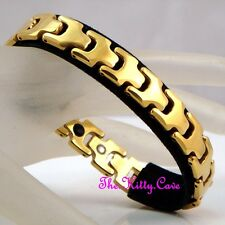 Tungsten Carbide Magnetic Arthritis Relief Ladies Mens 24k Gold Plated Bracelet