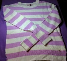 Juicy Couture Women's Small Lavender Striped Sweater Wool Mohair Cashmere D34