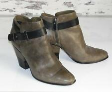 DOLCE VITA~DISTRESSED BROWN~LEATHER *BELTED* ANKLE FASHION BOOTS BOOTIES~7.5