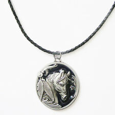 Western Equestrian Antique Silver/Black Enamel Horse Head Necklace