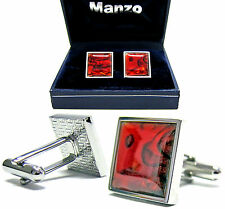 New Men's Cufflinks Cuff Link Square Wedding Formal Prom Paua Shell Red #09