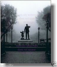 11x14 NEW Disneyland in the FOG Mickey & Walt Art image Partners Statue photo