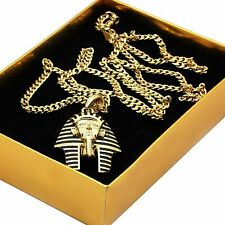 "Men's 14k Gold Plated Black Stripe Micro Pharaoh Pendant Hip Hop 30"" Cuban Chain"