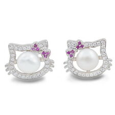 Lovely Hello Kitty Clear Crystal Pearl 925 Sterling Silver Earrings