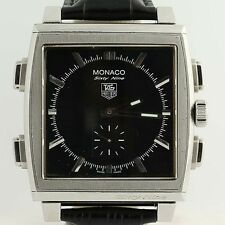 Tag Heuer Monaco 69 Watch Digital Swiss Digital Mechanical Black Leather Service