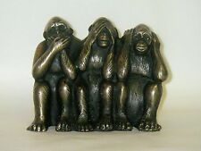 Three Wise Monkeys / Bronze Ornament Figurine
