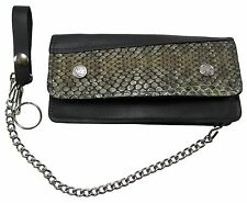 New Mens Rattlesnake Skin LargeTrucker Motorcycle chain Leather wallet USA MADE