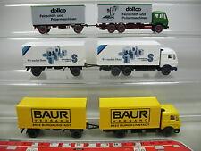 AF216-0,5# 3x Wiking H0 Lastzug Mercedes-Benz MB: Baur+Schmalbach+dollco, NEUW