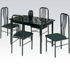 Acme Hudson 5 Piece Dining Set, Faux Marble Top - Black 02406/7BK New