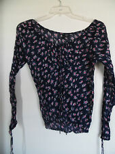 Eye Candy Women's Juniors Navy Floral Scoop neck Cotton Blouse Top Size L