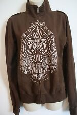 OBEY CLOTHING Womens Juniors Full Zip Collared Propaganda Sweatshirt Brown LARGE
