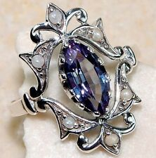 1CT Color Changing Alexandrite 925 Solid Genuine Sterling Silver Ring Sz 7, F1-4