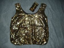 womens 100% silk gold sequin party cocktail club tank top size M - med - medium