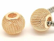 2 pcs Gold tone Mesh Spacer Charms/ Beads. Fits European Bracelet/Necklace C97