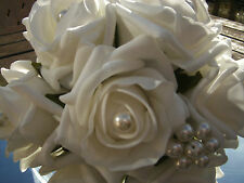 WEDDING FLOWERS BRIDES MAIDS BUTTONHOLES WANDS ROSES DIAMANTE PEARLS CRYSTALS