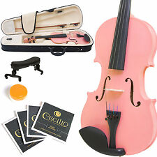 MENDINI SIZE 1/8 SOLIDWOOD VIOLIN METALLIC PINK +TUNER+SHOULDERREST+BOW+CASE