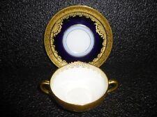 Antique Elite Limoges Cobalt Blue & Gold Encrusted -- 10 Soup Bowl & Liner Sets