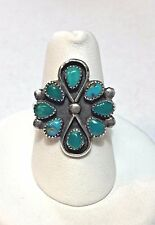Vintage Old Pawn ZUNI Sterling Silver BLUE GREEN TURQUOISE Cluster Ring Sz 6.5