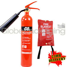 NEW 2KG CO2 CARBON DIOXIDE INDUSTRIAL FIRE EXTINGUISHER + FIRE BLANKET 1M X 1M