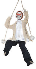 "17"" Hanging Animated Swinging Reaper Skeleton on Swing Halloween Decoration Prop"