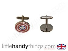 Captain America Metal Silver/Red Top Mens Cuff Links Pair Marvel Avengers Gift