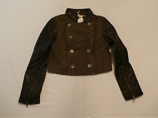 Urban Code Women's Canvas Biker Jacket With Leather Sleeves Size US 6 UK 10 NWT