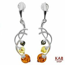 NATURAL BALTIC AMBER STERLING SILVER 925 JEWELLERY BEAUTY EARRINGS. KAB-173