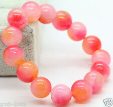 10mm Natural Pink&White&Orange Jade Jadeite Round Beads Stretchy Bangle Bracelet