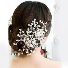 Bride Hair Comb Clip Crystal Rhinestone Flower Faux Pearl Wedding Bridal Hairpin
