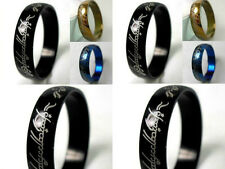 wholesale 72pcs 6 mm black blue gold Lord of the Rings Stainless Steel Ring