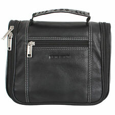 Pierre Cardin 100% Leather Hanging Travel Washbag Toiletry Bag - Black / 18150