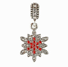 European 925 Silver Snowflake CZ Charm Beads Fit sterling Necklace Bracelet C#95
