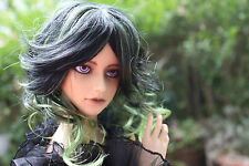 Dollfie bjd SD Wig peluca Monique size 8-9 Black Green