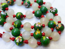 CHINESE ANTIQUE CLOISONNE WHITE GREEN JADE 8mm BEAD NECKLACE, 19""