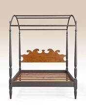 Queen Size Canopy Bed - Tiger Maple Wood Headboard & Painted Frame - Bedroom