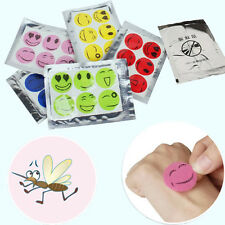 60x Cute Smiley Insect Mosquito Repellent Stickers Useful Patches Citronella Oil