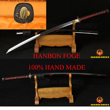 Handmade Japanese Samurai Sword KATANA Oil Tempered FullTang Blade Wolf Fittings