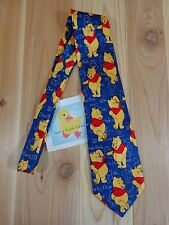 "WINNIE THE POOH Silk Neck Tie 58"" Blue How to Draw Novelty Print Disney"