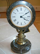 Maitland Smith Antique Brass Seahorse Snakeskin Brown Stone Table Top Clock