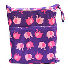 Wet Dry Bag Baby Cloth Diaper Nappy Bag Reusable ELEPHANT with Two Zipper Pocket