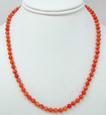 Vintage 14K Natural Red Coral Knotted 5.5mm Bead Necklace 17g
