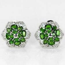 Silver 925 Large Genuine Natural Chrome Diopside Cluster Earrings