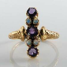 LOvELY LONG 9CT 9K GOLD AFRICAN AMETHYST & OPAL ART DECO INS RING FREE RESIZE