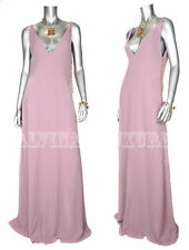 $2,900 GUCCI GOWN DUSTY ROSE FULL LENGTH SILK DRESS GOLDTONE DETAIL sz 42 / US 6