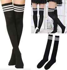 Women Sexy fashion Thigh High black Striped Cotton Socks Over Knee Stockings
